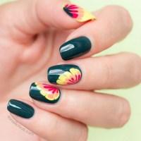spring nail art, floral nail design - SoNailicious