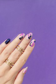 abstract purple nail design
