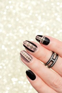 Black and Gold Geo Nail Design. Plus, How To