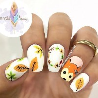 Cute Fox Fall nail design by @meraki_srs_nails - SoNailicious