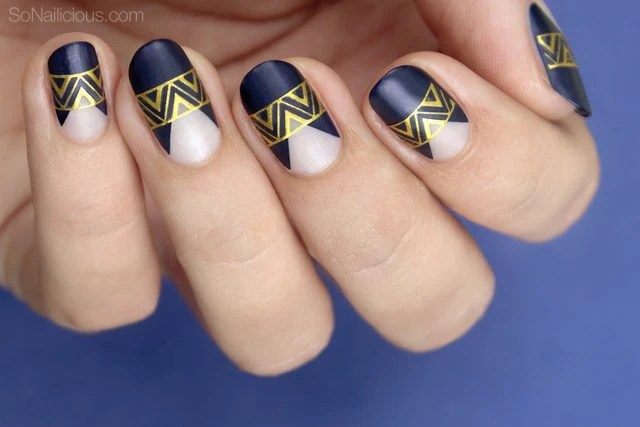 Tutorial Dark Blue And Gold Party Nails