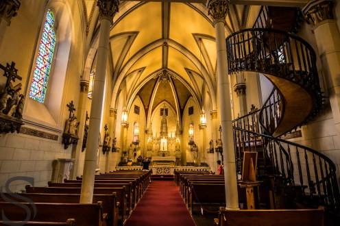 Wide angle of the Chapel and the Miraculous Staircase