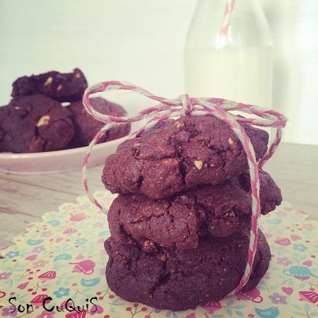 Receta cookies a los tres chocolates