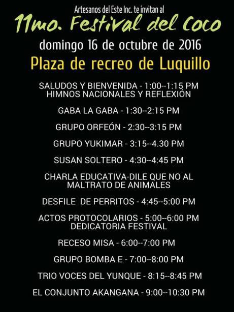 Programa Artístico Festival del Coco 2016