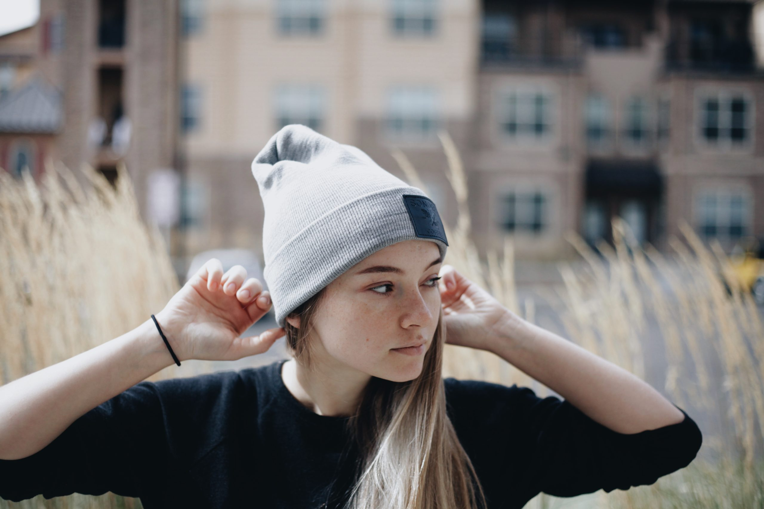 SONDER Grey & Leather Beanie