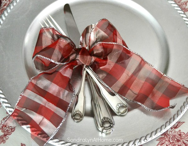 Merry and Toile Tablescape - Siverware tied with ribbon bow -- from Sondra Lyn at Home