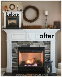 Stone Tile Around Fireplace