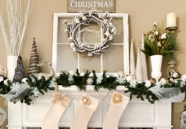 Winter White Christmas Mantel
