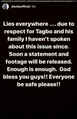 Davido Reacts To Police Claim About His Involvement In Tagbo's Death