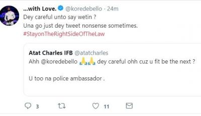 'Korede Bello May Be The Next Police Ambassador To Be Arrested', Fan Tweers. Singer Fires Back!