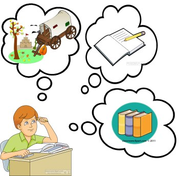 student thinking and studing at desk