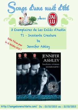 """CONCOURS : 3 Exemplaires De """"Les Exilés d'Austin T1 – Insolente Créature"""" de Jennifer Ashley à Gagner !"""