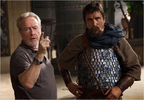 Exodus BTS Ridley Scott & Christian Bale