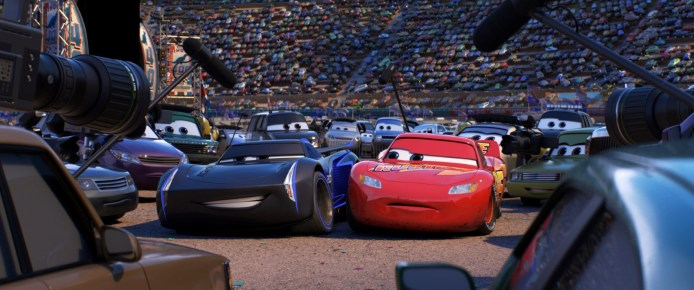 CARS 3 (Pictured) - Jackson Storm (voice of Armie Hammer) and Lightning McQueen (voice of Owen Wilson). ©2017 Disney•Pixar. All Rights Reserved.