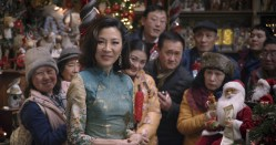 "(foreground) Michelle Yeoh as ""Santa"" in Last Christmas, directed by Paul Feig."