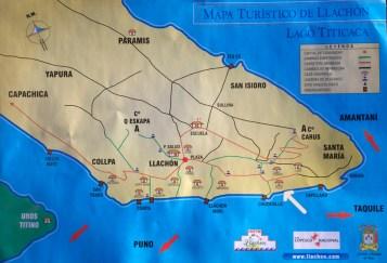 LAC TITICACA / Plan de la presqu'ile de Llachon (Santa-Maria)