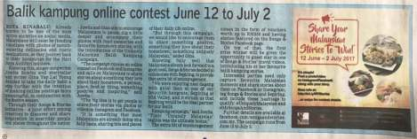 10 June 2017: Balik Kampung Online Storytelling Contest featured on The Borneo Post