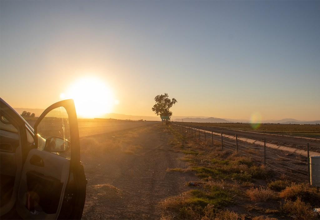 car door open gorgeous light in background