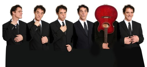 photo collage of six poses by Bill Berry in suit and tie and guitar from album Awkward Stage