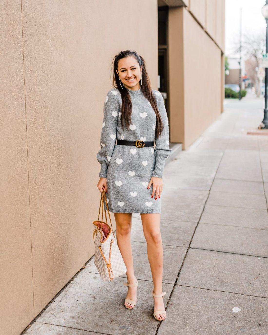 Valentine's Day Heart Sweater Dress