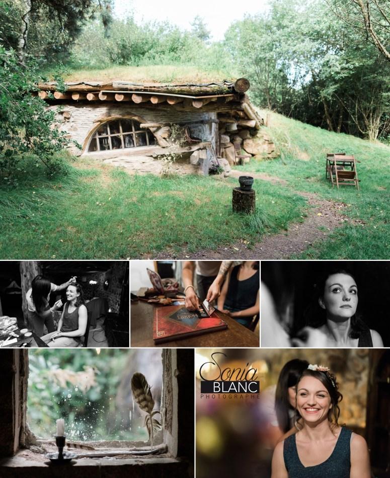 préparatifs de mariage dans des maisons de hobbit