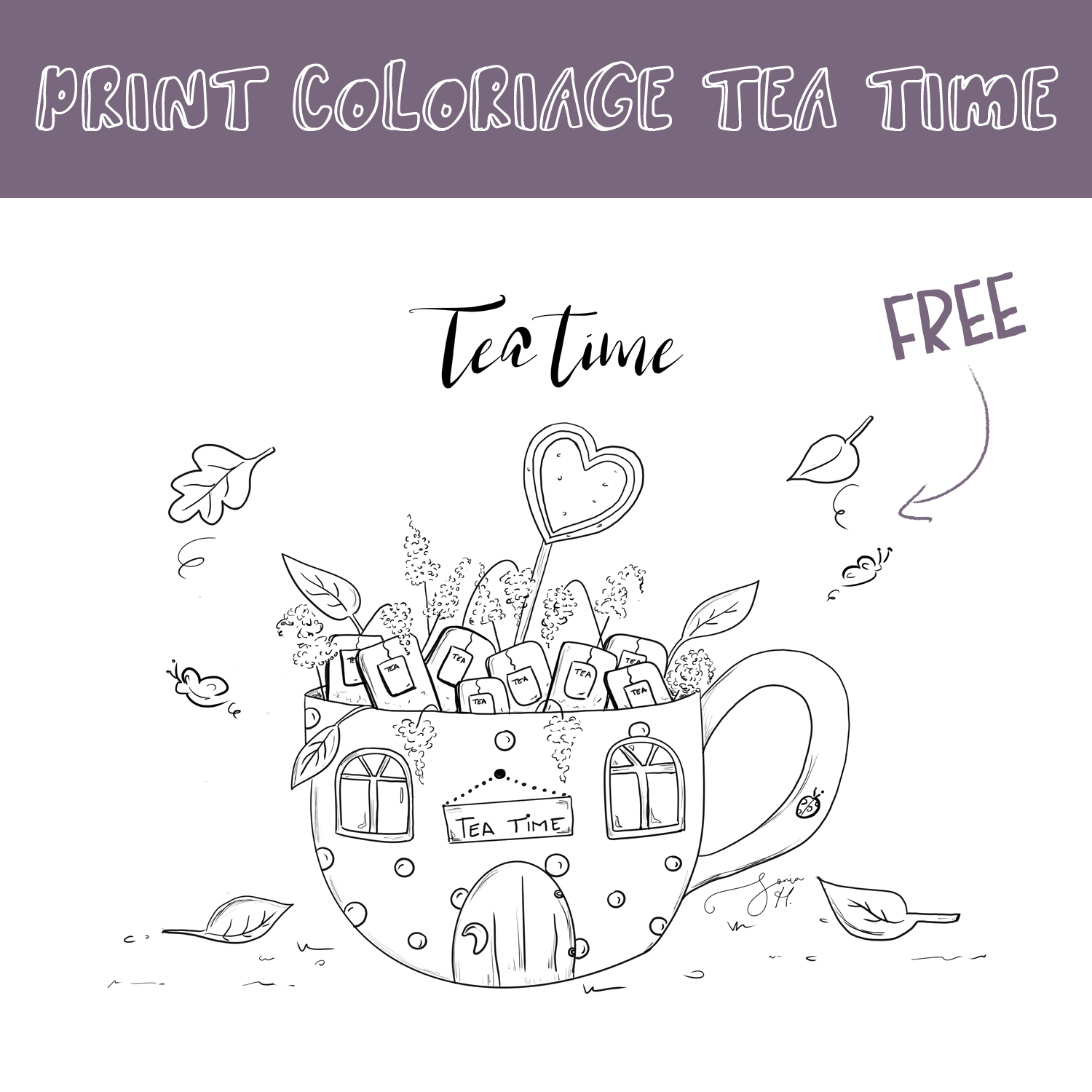 Coloriage Tea Time