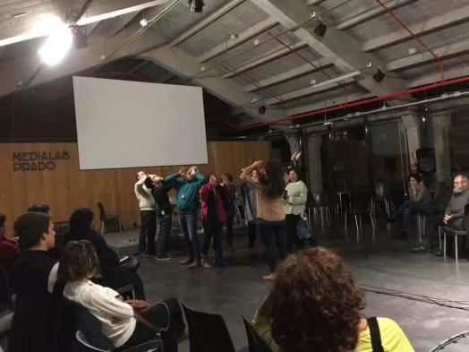 2016'XI'12. Medialab Prado. Performance colectiva con Llorenç Barber y Montserrat Palacios