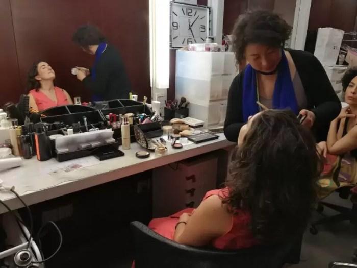 2017'V. Pekín. Dúa de Pel grabando en la CCTV - maquillaje