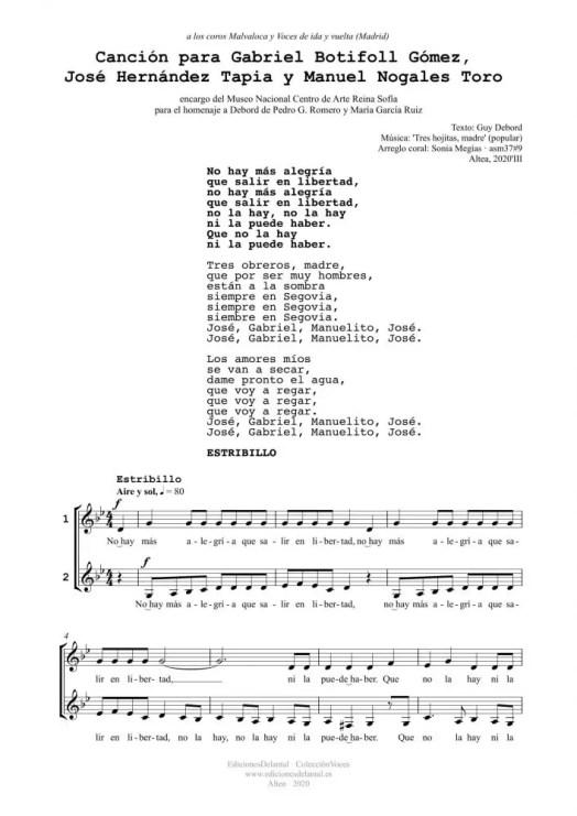 Canción para GB, JH y MN (2v)