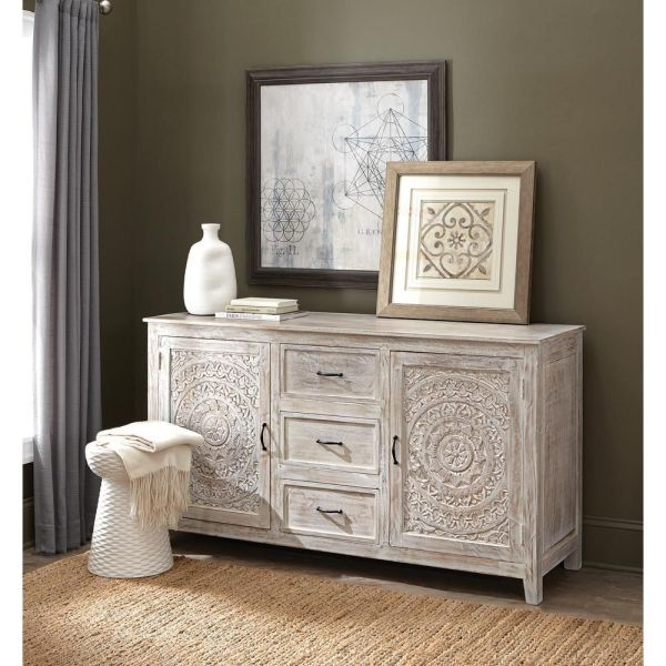 Alto Hand Carved White wash Wood Sideboard