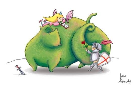 sant-jordi-drac-dragon-rosa-libro-princesa-ilustracion
