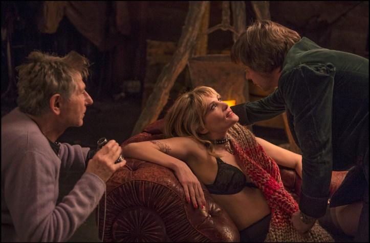 Roman Polanski con los dos protagonistas en un momento del rodaje