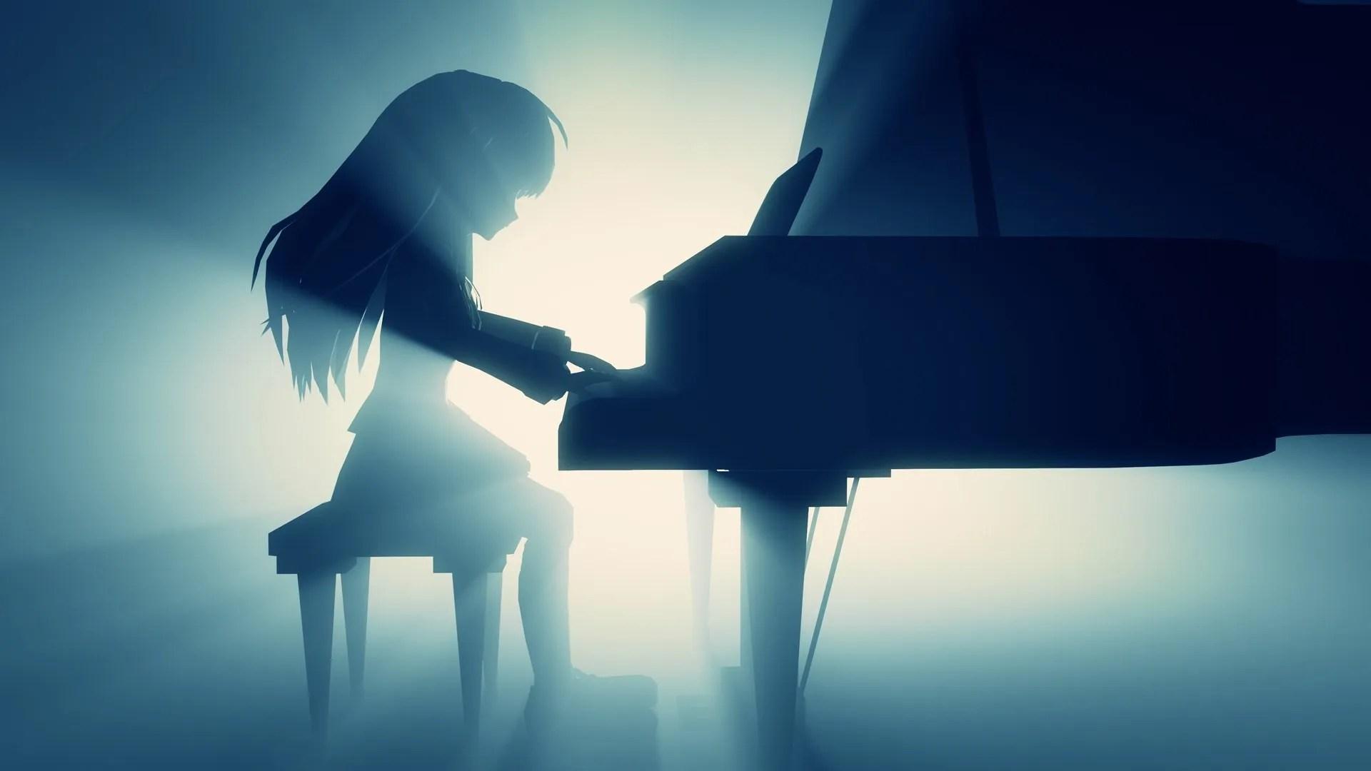 Anime girl playing piano