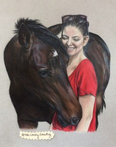 Jerry Yelich-O'Connor (Lorde's sister), and horse, Gin; colored pencil