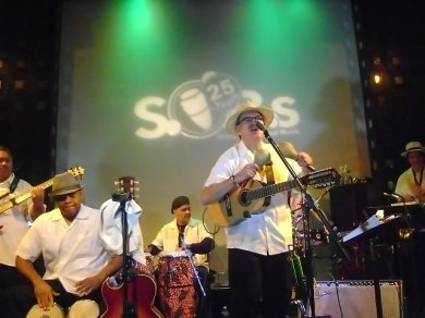 Sonido Costeno and Juan Ma playing maracas and singing Sonido-Costeno-JuanMa-palying-maracas-singing-Sounds-of-Brazil-SOBs-NYC-club