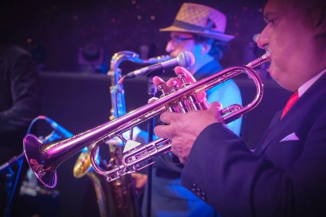 Sonido Costeno, trumpet and sax duo, Empire City at Yonkers Raceway Casino