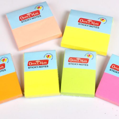 Soni Office Mate - Sticky Notepads Fluorescent (13x50x5x100) in Tray in Pack of 12pcs 1