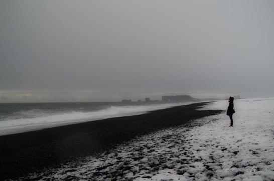 black beach, Strand, Person, winter, Island, Iceland, Südküste, South Coast