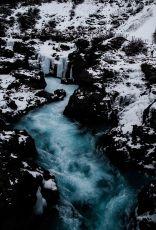 Fluss, blau, winter, Iceland, Island, Barnafoss, waterfall, Wasserfall
