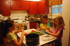 snapping green beans for dinner