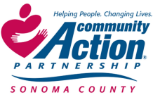 "Community Action Partnership of Sonoma County Logo ""Helping People. Changing Lives"""