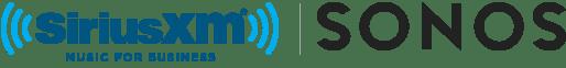 Business Music by SiriusXM. Sound by Sonos. Logo
