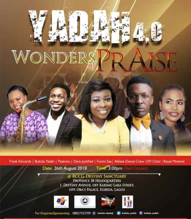 Bukola Yadah, Frank Edwards and others brace up for YADAH 4.0