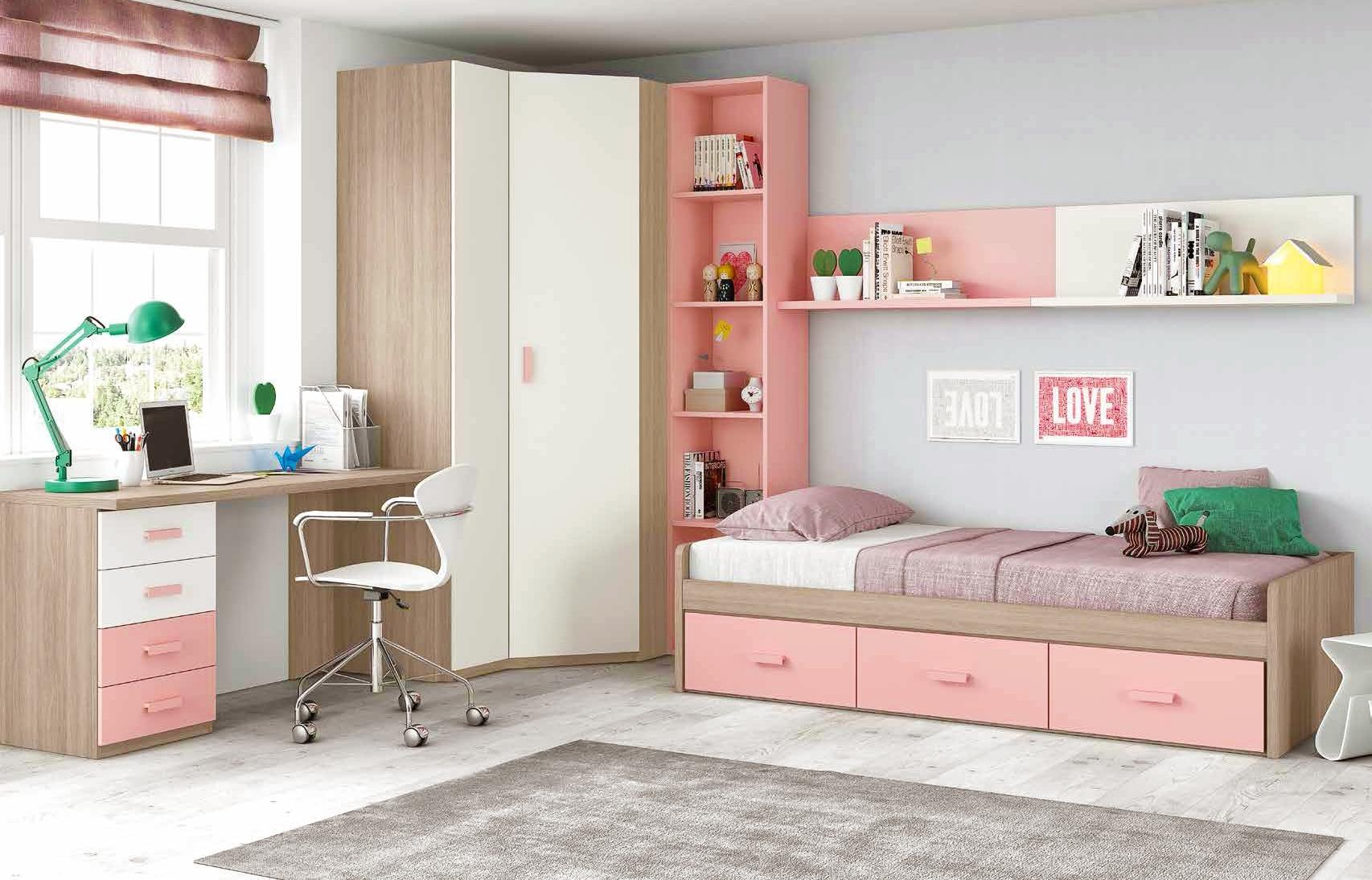 Chambre Ado Fille Douce Et Rose Avec Lit 3 Coffres