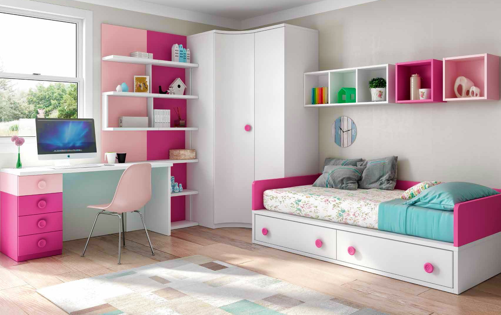 Chambre Enfant Fille Bicolore Fun Et Pratique  Glicerio