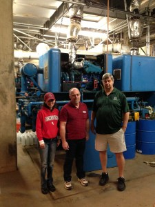 Summer 2013 projects at BC. Replacing chillers.Sonya Christian, Jim Coggins (Dir of Facilities), Sean James (Exec Dir of Admin Services)