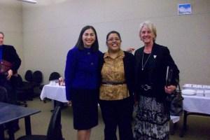 Rosalina Rivera, Superintendent DUHSD; Gaby Castaneda, Field Rep for Congressman Valadao; and Dr. Terri Nuckols, Director Delano Adult School