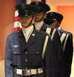 Color Guard for Tehachapi Composite Squadron 46 preparing to enter the stage