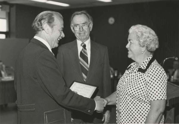 1980 - Photo of Cecil Bailey, John Collins, and retiree Furn Ogden