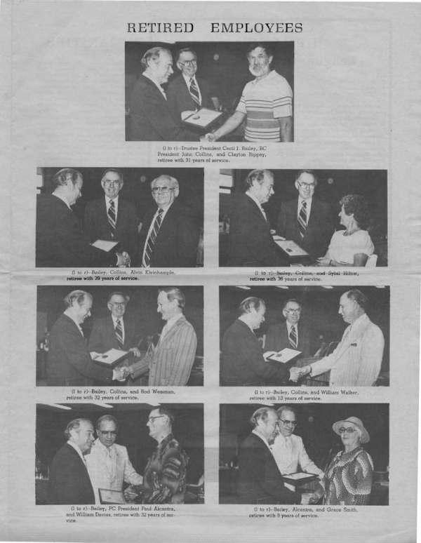 1980 Photos of John J. Collins and Cecil J. Bailey with retiring employees Clayton Rippey, Alvin Kleinhample, Sybil Hilton, Rod Wessman